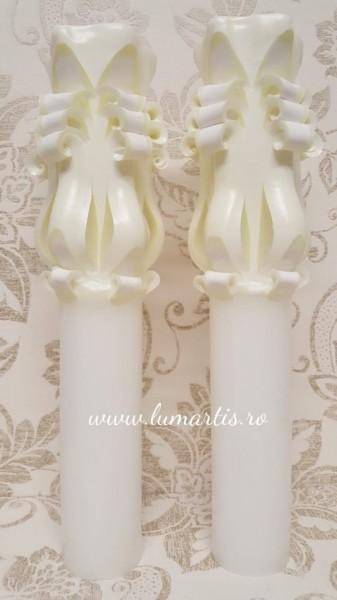 Lumânare de nuntă sculptată LS Crem - 6,4x40 cm