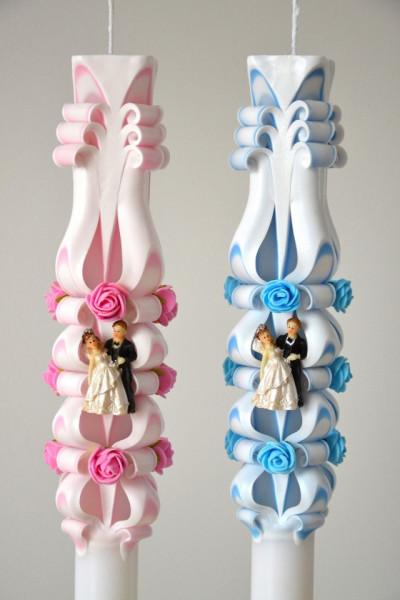 Lumanare de nunta sculptata LN 615 Roz & Bleu