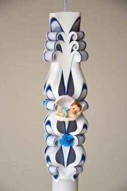 Lumanare de botez LB 708 D 3,6 cm x 60 cm  Bleumarin