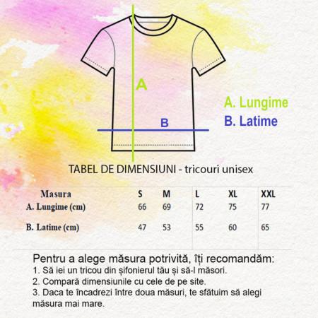 tabel dimensiuni tricouri unisex