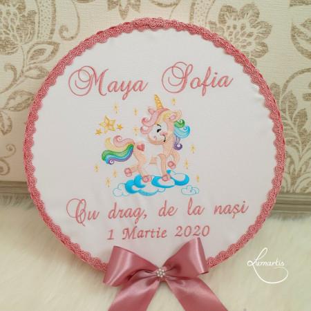 Trusou botez Clasic 079- Unicorn roz pudrat