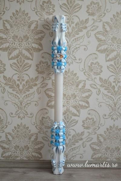Lumanare de botez LB 751 D 4,6 cm x 90 cm Bleu