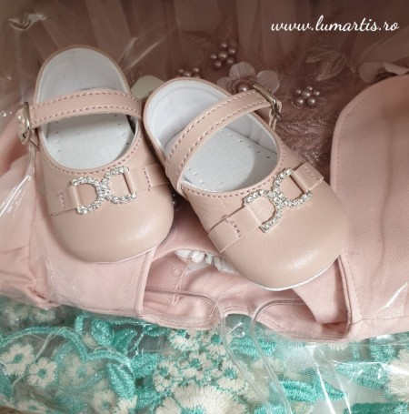 Pantofiori botez- Roz pudrat