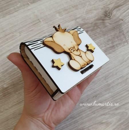 """Cutiuță din lemn pentru """"prima șuviță"""" - Elefănțel"""
