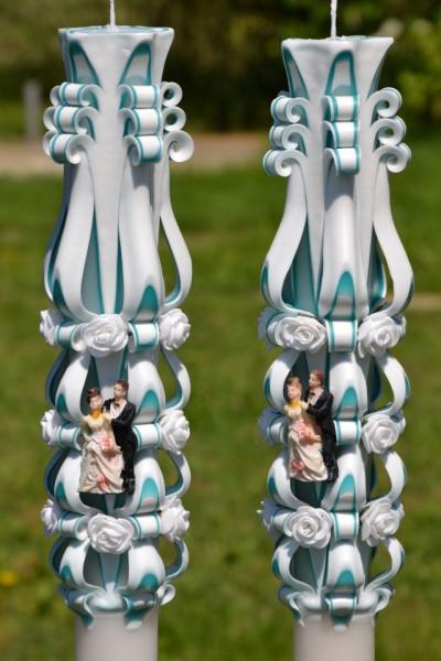 Lumanare de nunta sculptata LN 611 Turcoaz