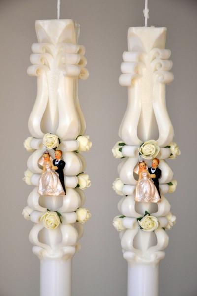 Lumanare de nunta sculptata LN 602 Crem