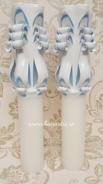 Lumânare de nuntă sculptată LS Bleu - 6,4x40 cm