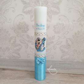 Lumânare de botez personalizată cu ursuleț și ancoră - Bleu