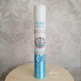 Lumânare de botez personalizată cu ancoră - Bleu