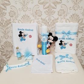 Set botez - Baby Mickey, Bleu (lumânare și trusou)