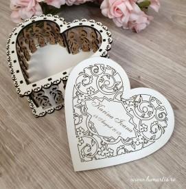 Cutie decorativă din lemn - inimă