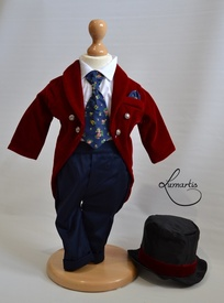 """Costum botez """"Micul Dandy"""", Burgundy"""