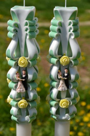 Lumanare de nunta sculptata LN 610 Verde