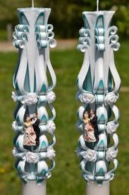 Lumanare de nunta sculptata LN 611 D36x90 Turcoaz