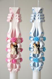 Lumanare de nunta sculptata LN 615 D36x90cm Roz & Bleu