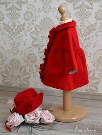 Paltonaș cu pălăriuță DARIA, Roșu