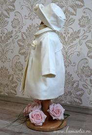 Paltonaș cu pălăriuță ISABEL, Alb perlat