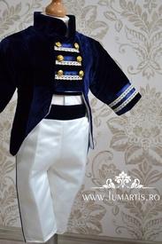 Costum Redingota, catifea bleumarin