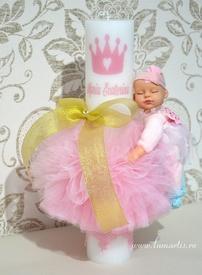 "Lumânare stâlp ornată LB 445 - ""Fairy"", Roz"