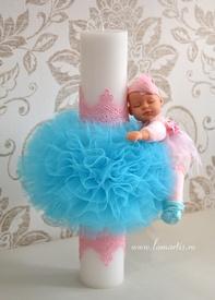 """Lumânare stâlp ornată LB 449 - """"Fairy"""", Bleu turcoaz & Roz"""