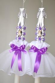 Aranjament pentru lumanare de nunta 006 - Mov