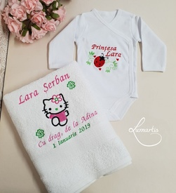 Cadouri bebeluși - set body și prosop BB2