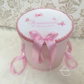 Cutie trusou botez CTB 013 - Fluturași roz