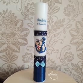 Lumânare de botez personalizată cu ursuleț și ancoră - Bleumarin