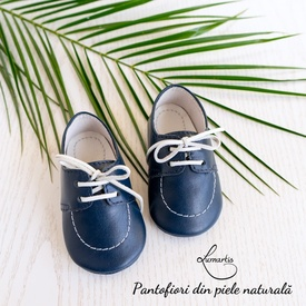 Pantofiori botez - din piele naturală - albastru