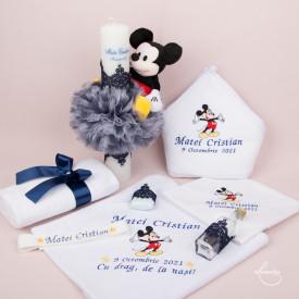 Set botez - Mickey- Bleumarin (lumânare și trusou)