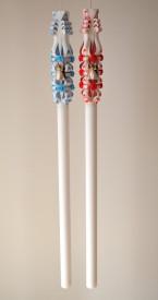 Lumanare de nunta sculptata LN 612 Rosu & Bleu