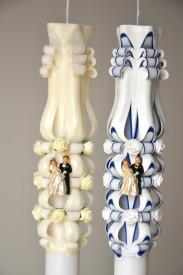 Lumanare de nunta sculptata LN 619 Crem & Bleumarin