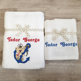 "Set 2 prosoape personalizate - ""Teddy Sailor"""