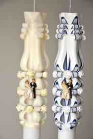 Lumanare de nunta sculptata LN 619 D46x90 Crem & Bleumarin