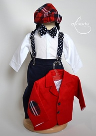 Costum botez - Roșu (matlasat, sezon rece)