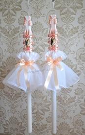 Aranjament pentru lumanare de nunta 005 - Somon
