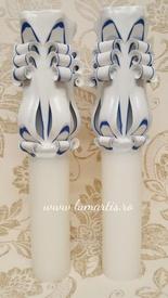 Lumânare de nuntă sculptată LS Bleumarin - 6,4x40 cm