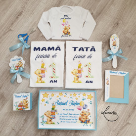Set aniversar Tăviță +Tricouri personalizate 001