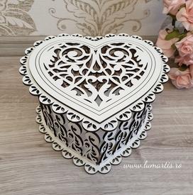 Cutie decorativă din lemn - inimă 02