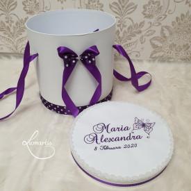 Cutie trusou botez CTB 018 - Fluturaș violet