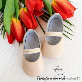 Pantofiori botez - din piele naturală - bej