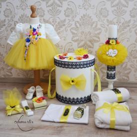 "Set botez ""Eva"" - Galben și Bleumarin (rochie mânecă scurtă)"
