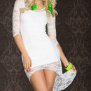 Fancy Dress with Lace Train White