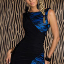 Black and Blue Lace Splice Mini Bodycon Dress