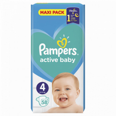 PAMPERS active baby pelene 4 (9-14kg) 58 komada