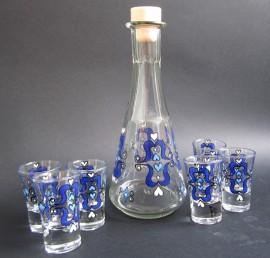 Poze Set de pahare de tuica cu decanter - Blue tulips