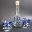 Set de pahare de tuica cu decanter - Blue tulips