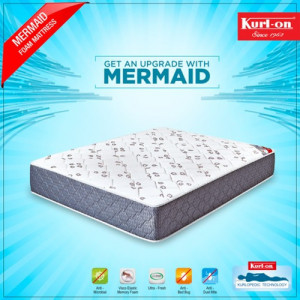 "KURLON MATTRESSES MERMAID DUAL COMFORT MATTRESS 5"" WITH MEMORY FOAM & BREATHABLE BONDED FOAM WITH 7 YRS WARRANTY"