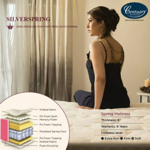"Centuary Silverspring 8"" PillowTop Memory Foam Mattress with 10 Years warranty"