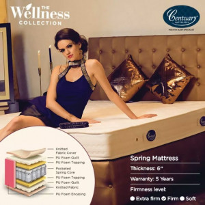 "CENTUARY ZING PREMIUM POCKET SPRING MATTRESS 6"" WITH 5 YRS WARRANTY"